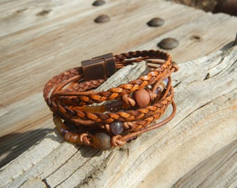 Leather Wrap Bracelet ,Boho Wrap Bracelet,  Leather Wrap,  Beaded Wrap, Leather Bracelet,  Wrap Leather Bracelet JEWELRY