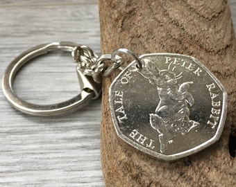 Peter Rabbit keyring clip, Beatrix Potter coin keychain, purse charm, handbag charm, souvenir, 2017 keepsake gift for her, woman, teen girl