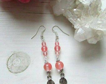 Cherry Quartz Earrings - Cherry Quartz Dangle Earrings - Cherry Quartz Drop Earrings - Cherry Quartz