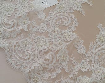 Beaded ivory lace trimming, Sequin lace trimming, Pearl lace, French lace trim Chantilly lace, Bridal lace, Wedding lace, White lace EEV2088