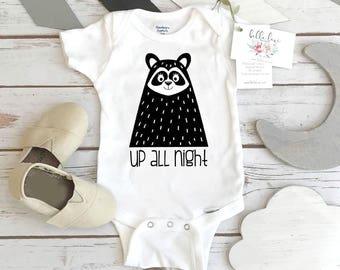 Monochrome Onesie®, UP ALL NIGHT, Black and White Onesie, Monochrome Nursery, Baby Shower Gift,Organic Baby, Scandinavian Baby,Little Rascal