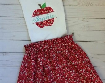 Back to school outfit, girl's school outfit, apple shirt, preschool, kindergarten