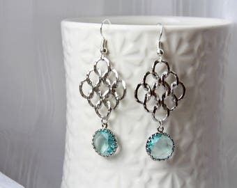 Silver earrings, filigree silver earrings with aquamarine, dangle earrinigs, wedding jewelry, feminine earrings
