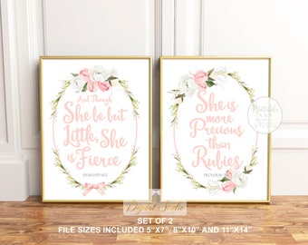 Baby Girl Floral Nursery Art, And Though She, She is Clothed, Boho Floral Nursery Art, PRINTABLE ART, Nursery Wall Art, Nursery Wall Decor