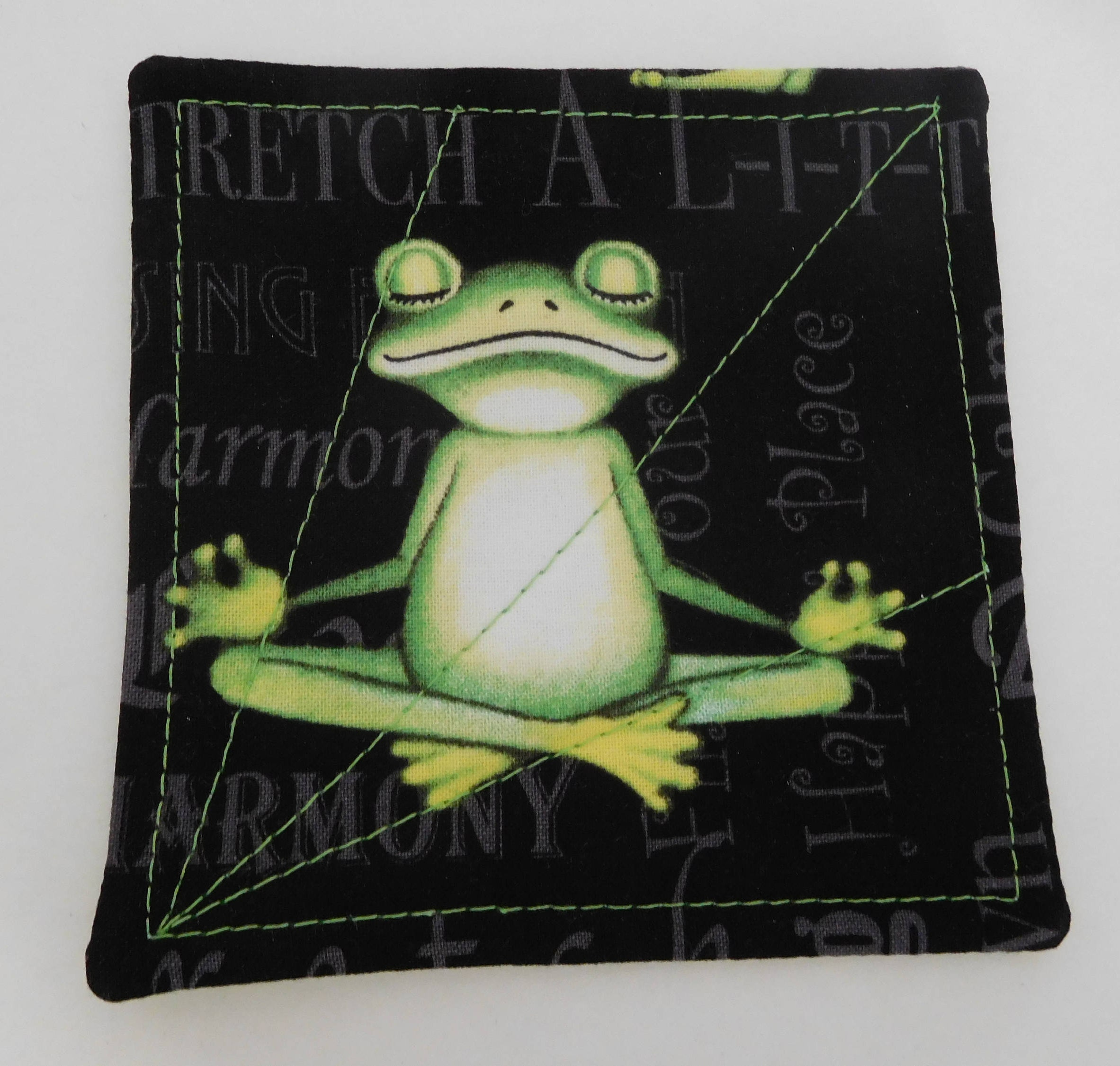 Exercise Fun Frog Coasters Quilted Drink Mat Yoga Stretch
