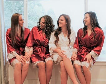 Lace Bridal Robe, Bridesmaid Robe, Burgundy Robe, Bridal Robe, Bridal Party Robe, Bridesmaid Gift, Lace Satin Robe, Personalize Robe