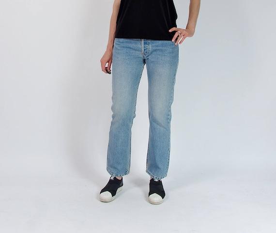 SALE - 90s Levi's 501 light blue denim street style jeans / size W31 L30