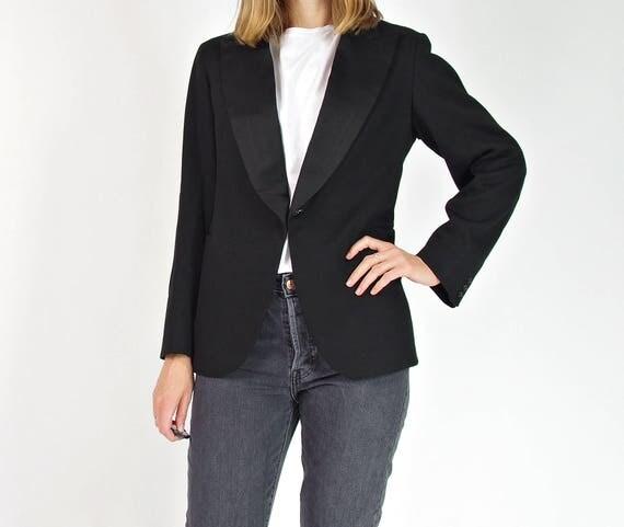 1930s Black wool women's tuxedo jacket / size S-M
