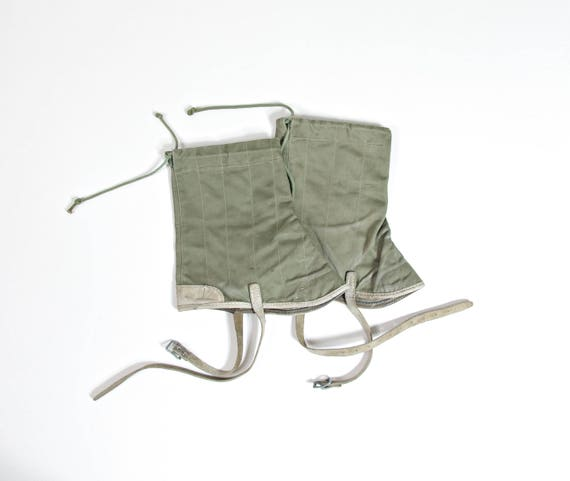 50s 60s Canvas leather military boots gaiters