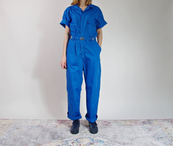 Vintage Toppmaster workwear jumpsuit street style blue coveralls made in USA