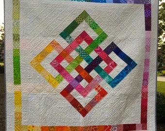 Modern Handmade Quilt | Rainbow Colors Quilt | Multi-Colors Quilt | Handmade Quilt | Lap Quilt | Wall Hanging
