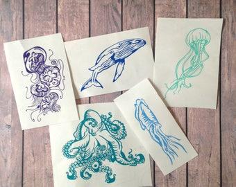 Set of 5 Sea Creature Vinyl Decals - Bundle Octopus Jellyfish Squid Whale