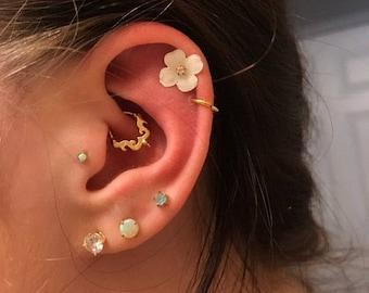 Gold Daith Piercing, Helix Earring, Tragus Jewelry, Rook Earring, Cartilage Hoop, Tragus Earring, 16 gauge, 18 gauge, Ear Piercing Jewelry