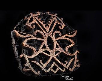 "Batik Stamp Indonesian Batik Copper Tjap Chop Textile Fabric Sarong Hand Printing Block Decorative Art Collectible Stempel Lovely 8.25x7.25"""