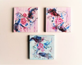 Original Contemporary Triptych, modern Set of 3 Small Abstract Paintings,  6 x 6 in each, Modern Fine Art Abstract Floral, Textured Painting