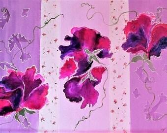"""Abstrait, Fleurs, Contemporain, Peinture originale, tableau fleurs sur papier, cadre blanc ou noir,  33x43 cm """"Pois de senteur"""""""