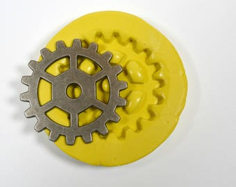 1704 Steampunk Gear Food Safe Silicone Rubber BPA free mold mould, fondant, resin, clay, crafts, cake decor