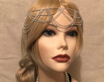 1920s Silvertone Headchain Flapper Gatsby 1920's stye art deco goddess head chain band headband 20s headpiece piece 20's silver (929)