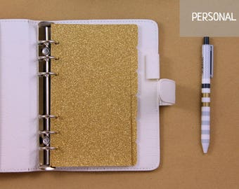 6 gold Planner Dividers for Filofax Personal, planner dividers set, golg glitter dividers