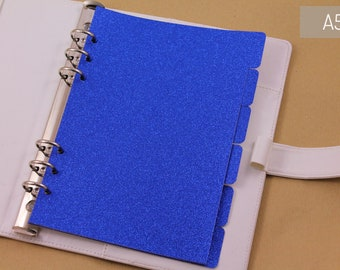 A5 dividers for planner organizer, blue planner dividers with glitter, woman work gift