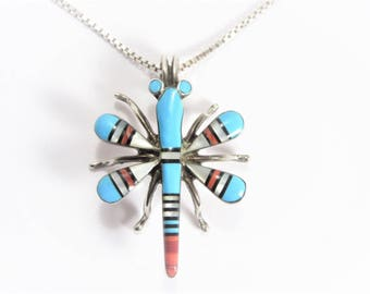 Vintage Sterling Native American Zuni Inlay Dragonfly Necklace