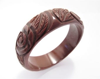 Wide Vintage Deep Carved Bakelite Bangle Bracelet Brown