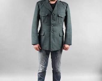 80s Vintage Men Wool Army Jacket Gray Wool Coat Military 1970s Goat Wool Jacket Outerwear Urban Hipster Boyfriend Gift size XL