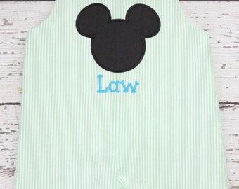 Mickey Jon Jon Monogrammed, Disney Jon Jon with Monogram, Lime Green Mickey Jon Jon