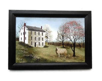 Sheep, Spring at White House Farm, Billy Jacobs Print, Country Decor, Primitive Decor, Handmade, 21X15, Custom Wood Frame, Made in the USA