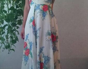 Vintage Yellow Floral Halter Sundress/Maxi Dress