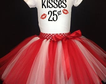 Valentines Day Tutu Set, Red White Tutu, Red White Tutu Set, Girls Tutu, Valentines Red White Tutu, Kisses Shirt, Love Tutu Set, Red Tutu