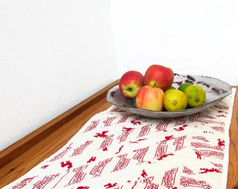 Christmas table runner, Scandi style rustic Christmas decor, sideboard runner, quilted table mat, table centrepiece, handmade in the UK