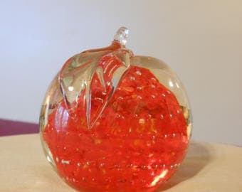 Red and Green Glass Apple Paper Weight