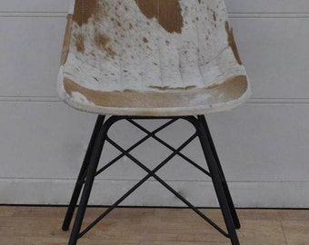Rustic Handmade Iron and Real Leather Chair