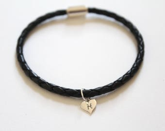 Leather Bracelet with Sterling Silver H Letter Heart Charm, Silver Tiny Stamped H Initial Heart Charm Bracelet, Letter H Charm Bracelet, H