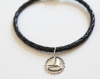 Leather Bracelet with Sterling Silver Sailboat Charm, Sailboat Bracelet, Sailboat Charm Bracelet, Silver Sailboat Charm Bracelet, Boat