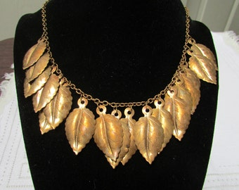 Vintage 30's Deco brass leaves bib necklace Haskell style necklace choker