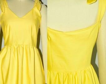 Yellow Dress, Summer Dress, Cotton Dress, Midi Dress, Yellow Midi Dress, Strappy Dress