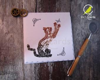 Steampunk Cat with Butterfly Blank Card, Cat Card, Kitten Card, Steampunk Card, UK