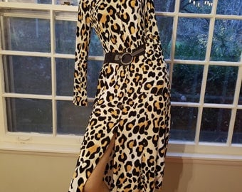 FREE  SHIPPING  1970  Jersey  Leopard  Dress