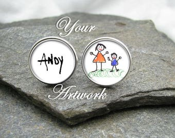 Your Child's Artwork Cufflinks, Kid's Art Cufflinks, Personalized Cufflinks, photo cufflinks