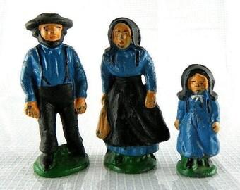 Vintage Cast Iron Amish Family 3 Metal Figurines