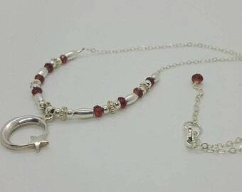 Celestial Charm Necklace With Garnets