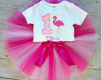 Flamingo 1st Birthday Tutu Outfit, Tropical Birthday, Hawaiian Birthday, Luau Birthday Outfit