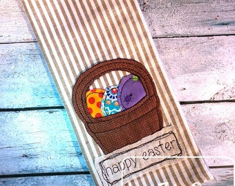 Happy Easter shabby chic appliqué embroidery design - easter egg appliqué design - easter appliqué design - easter basket appliqué design