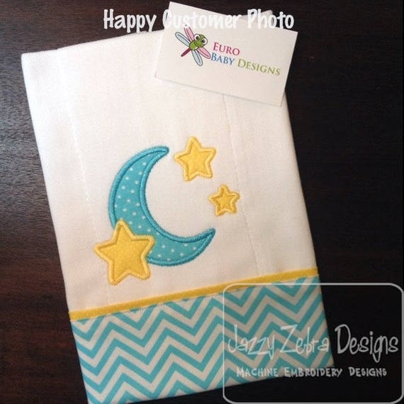 Moon and Stars Appliqué embroidery Design - moon Appliqué Design - stars Appliqué Design - baby Applique Design