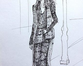 Chanel Runway Fashion Illustration Original Wall Art