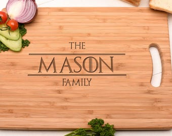 Game of thrones Style Family Board. Chopping, Serving & Cutting Board. Personalised Gift, Birthday Gift, Christmas Gift
