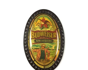 Vintage Budweiser Beer Oval Advertising Original 1960s Anheuser Busch Nautical Boat Scene Budweiser Framed Advertising