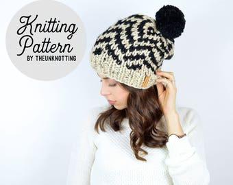 PATTERN // The Herringbone Hat // Chunky Knit Fair Isle Beanie Pattern